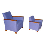 Evans Lounge Chair and Matching Youth Chair with Wood Arm Caps