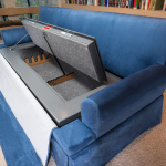 Couchbunker with cushions removed and safe open